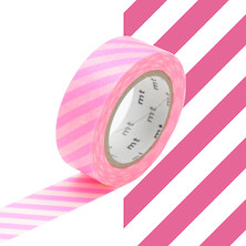 mt Washi Masking Tape - 15mm x 10m - Stripe Shocking Pink