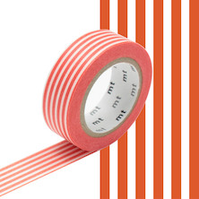 mt Washi Masking Tape - 15mm x 10m - Border Bright Orange