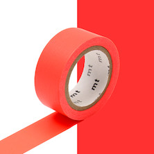 mt Washi Masking Tape 15mm x 5m Fluorescent Red