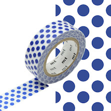 mt Washi Masking Tape 15mm x 10m Dot Night Blue