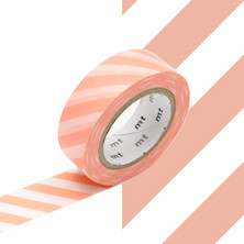 mt Washi Masking Tape - 15mm x 10m - Stripe Salmon Pink