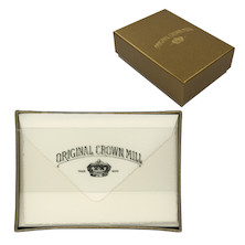 Original Crown Mill Mini Card & Envelope Set Gold Line Deckle Edge