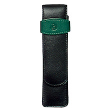 Pelikan Soft Leather Pen Pouch for Two Pens Green and Black