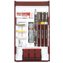 rotring rapidograph Technical Drawing Pen College Set with Pen Station