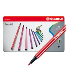 STABILO Pen 68 Metal Box of 50 assorted colours