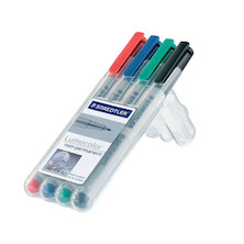 Staedtler Lumocolor Marker Pen non-permanent Superfine Wallet of 4
