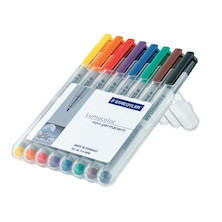 Staedtler Lumocolor Marker Pen non-permanent Superfine Wallet of 8
