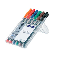 Staedtler Lumocolor Marker Pen Permanent Fine Wallet of 6