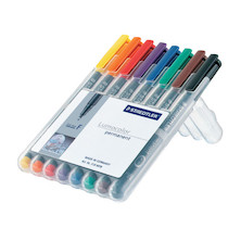 Staedtler Lumocolor Marker Pen Permanent Medium Wallet of 8