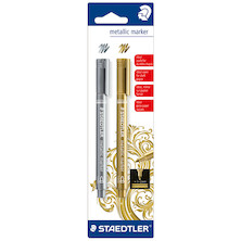 Staedtler Metallic Marker Pen Gold and Silver Twin Pack