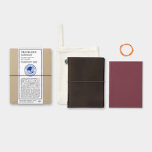 TRAVELER'S COMPANY Traveler's Notebook Leather Passport Size Brown