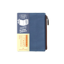 TRAVELER'S COMPANY Traveler's Notebook Passport Size Cotton Zipper Case Blue