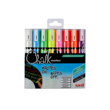 Uni Chalk Marker Pen PWE-5M Assorted Set of 8
