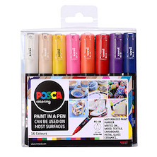 Uni POSCA Marker Pen PC-1M Extra Fine Set of 16 Assorted