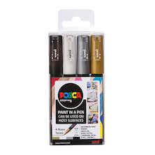 Uni POSCA Marker Pen PC-1M Extra Fine Set of 4 Monotones