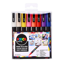 Uni POSCA Marker Pen PC-3M Fine Set of 16 Assorted