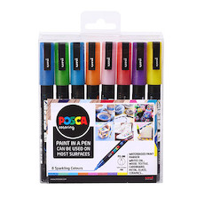 Uni POSCA Marker Pen PC-3M Fine Set of 8 Sparkling