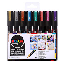 Uni POSCA Marker Pen PC-5M Medium Set of 8 Metallics
