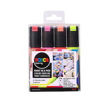Uni POSCA Marker Pen PC-8K Broad Chisel Set of 4 Fluorescents