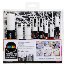 Uni POSCA Marker Pen Set of 8 Assorted Tips White