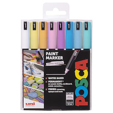 Uni POSCA Marker Pen PC-1MR Ultra-Fine Set of 8 Pastels