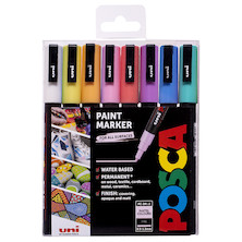 Uni POSCA Marker Pen PC-3M Fine Set of 8 Pastels