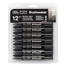 Winsor & Newton BrushMarkers Set of 12 Neutral Tones