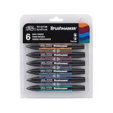Winsor & Newton BrushMarkers Set of 6 Rich Tones