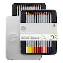 Winsor & Newton Studio Collection Coloured Pencils Assorted Tin of 24