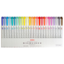 Zebra Mildliner Twin Tip Pastel Highlighter Set of 25