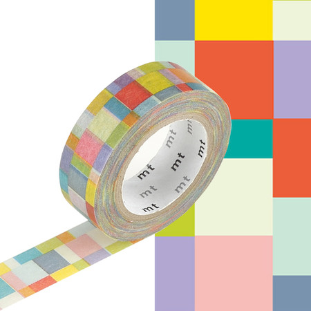 Mt washi masking tape 15mm x 10m mosaic bright cult pens for Low tack tape for crafting