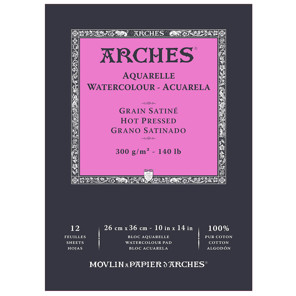 Arches Watercolour Hot Pressed Pad 26 x 36 Natural White
