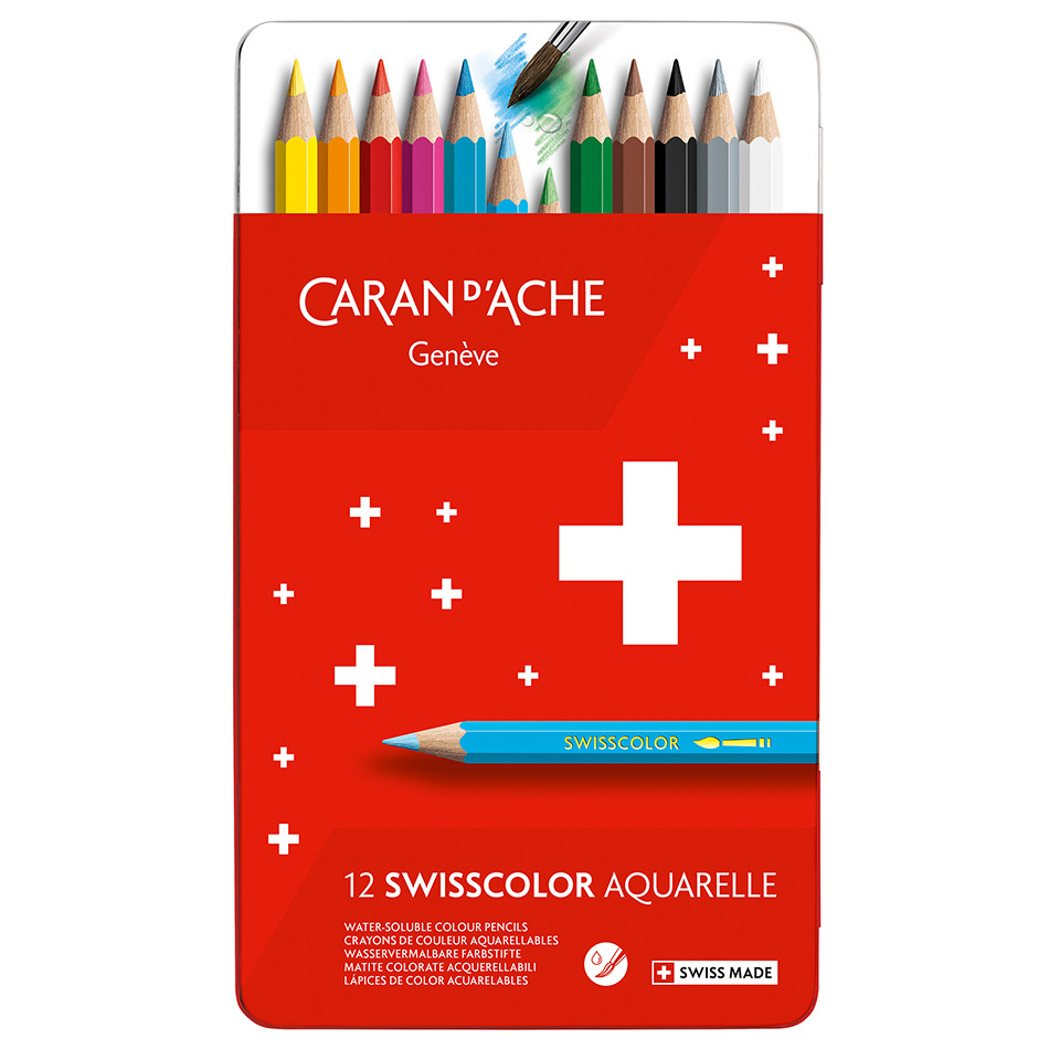 Caran d'Ache Swisscolor Water-Soluble Colouring Pencils Metal Box of 12