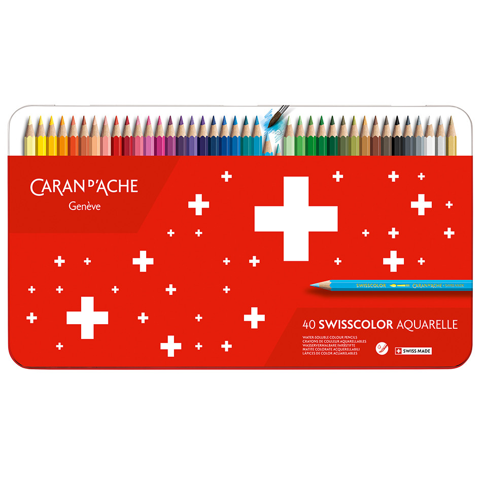 Caran d'Ache Swisscolor Water-Soluble Colouring Pencils Metal Box of 40