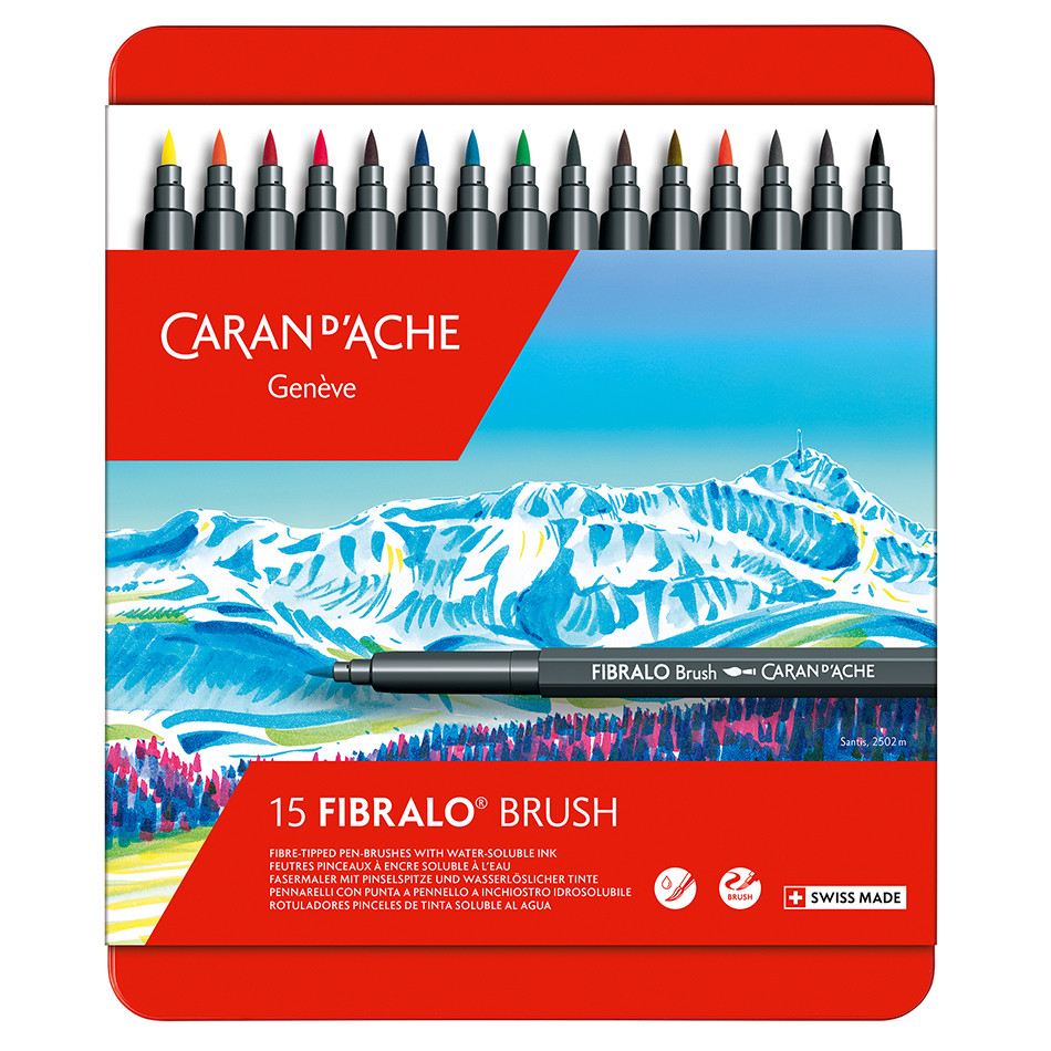 Caran d'Ache Fibralo Brush with Water-Soluble ink Box of 15