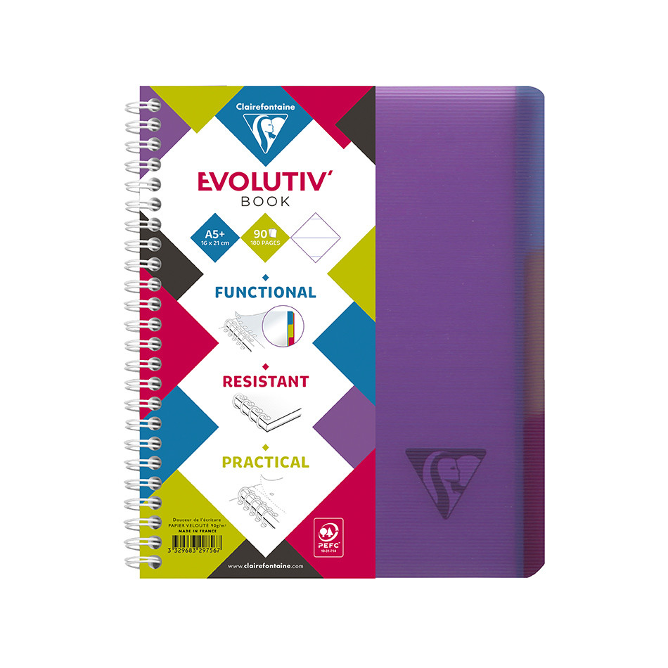 Clairefontaine Linicolor Wirebound Notebook A5 + 3 Removable Dividers