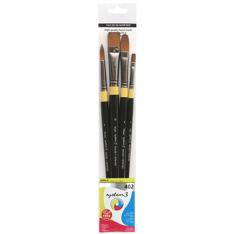Daler-Rowney System3 Acrylic Long Handle Brush 402 Wallet of 4