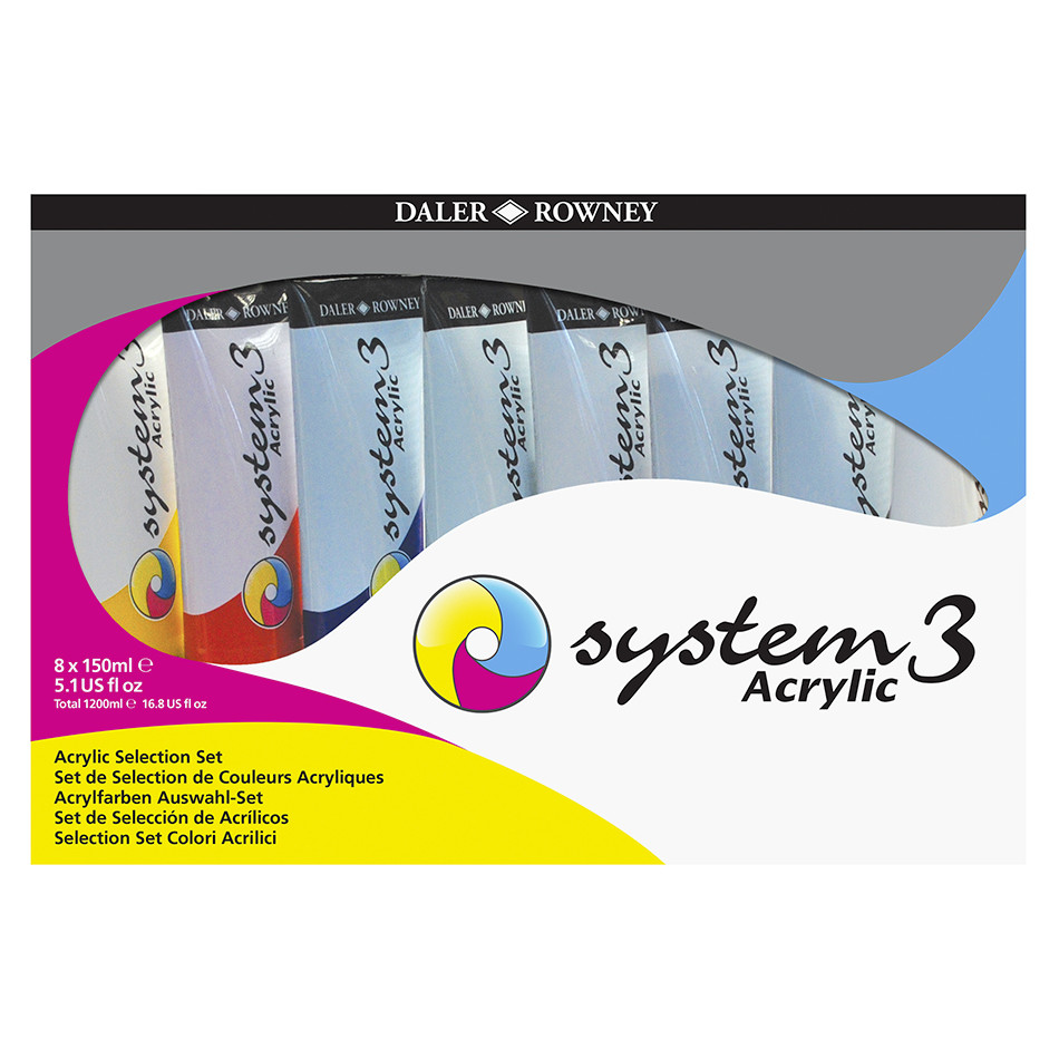 Daler-Rowney System3 Acrylic Paint 150ml Selection Set of 8