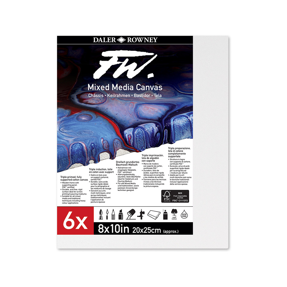 Daler-Rowney FW Mixed Media Canvas 8x10in Pack of 6