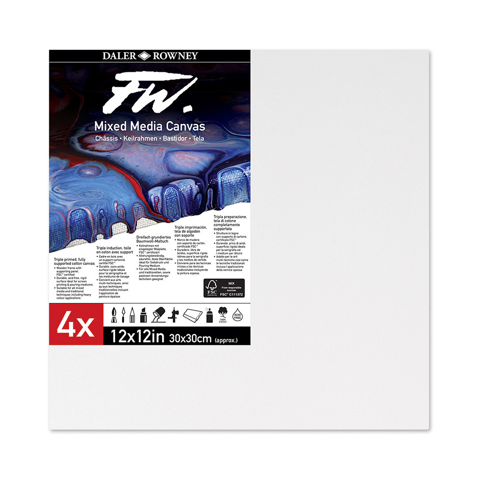 Daler-Rowney FW Mixed Media Canvas 12x12in Pack of 4