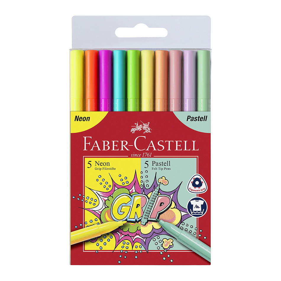 Faber-Castell Grip Colour Markers Assorted Set of 10 Neon & Pastel