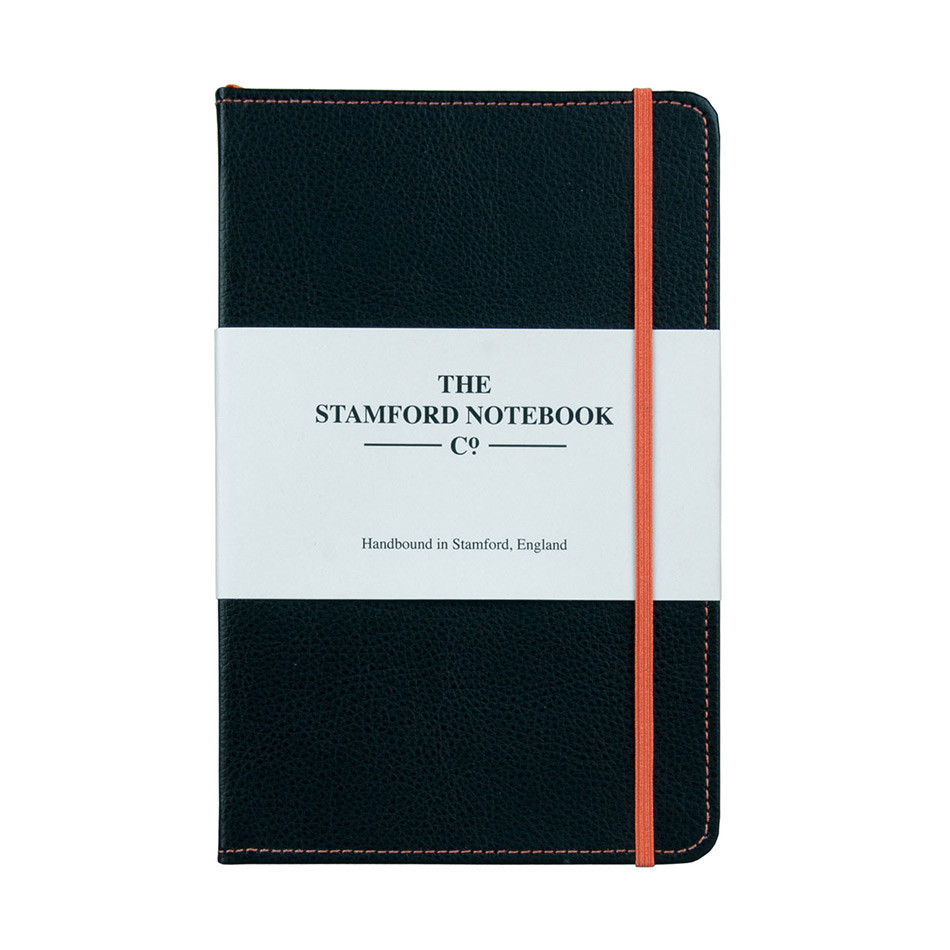 Stamford Notebook Company Stitched Recycled Leather Notebook Octavo Pocket Black