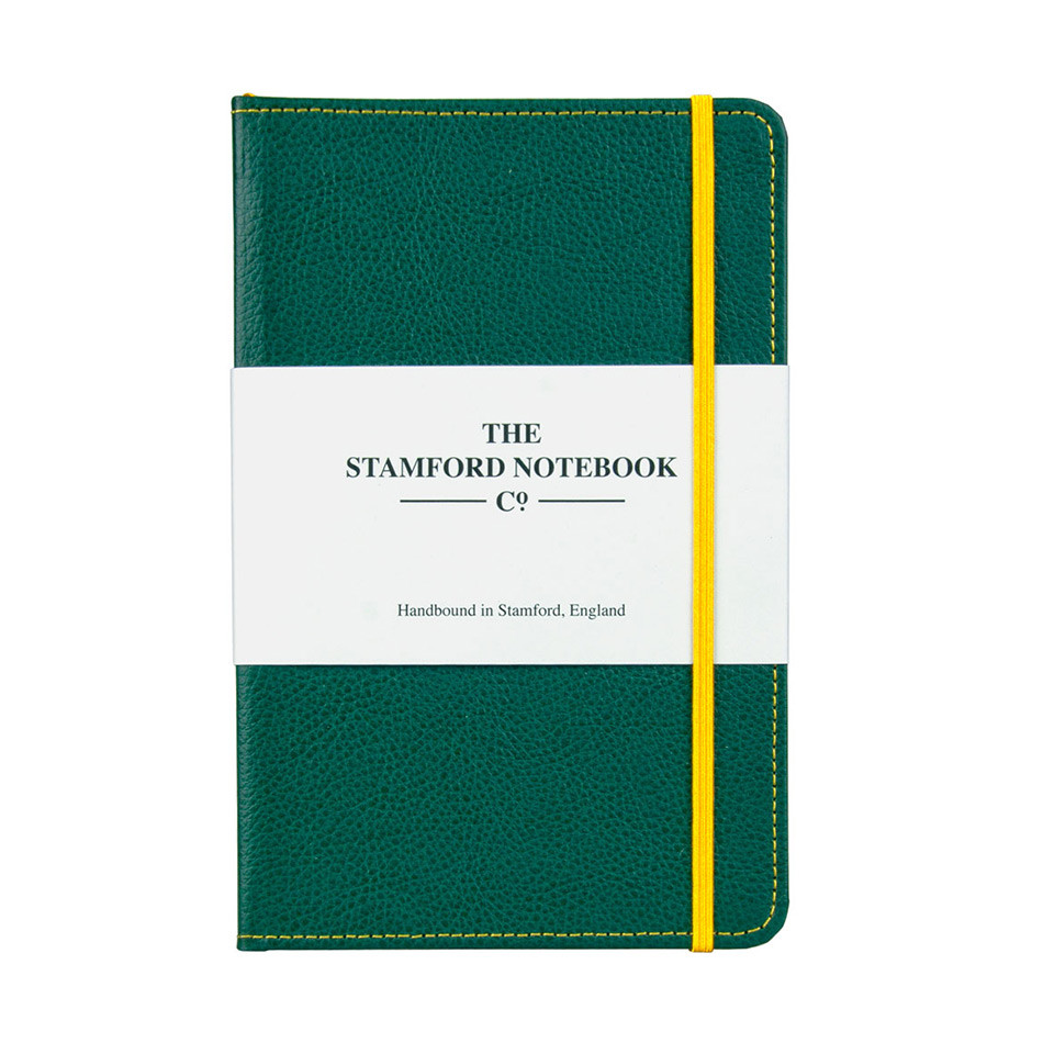 Stamford Notebook Company Stitched Recycled Leather Notebook Octavo Pocket Green