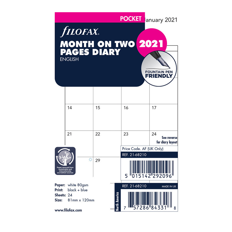 Filofax Diary Refill 2021 Month on 2 Pages