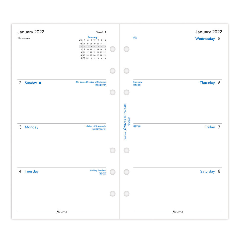 Filofax Diary Refill 2022 Week on 2 Pages Sunday Start Personal