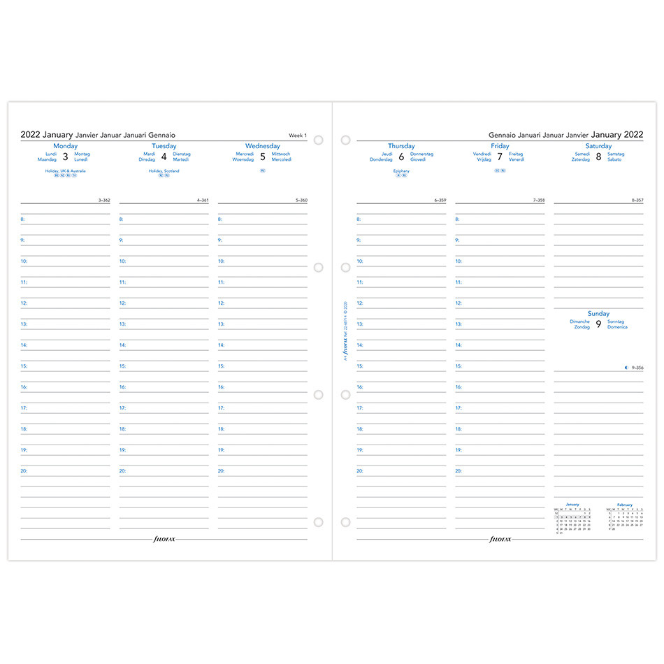 Filofax Diary Refill 2022 Week on 2 Pages A4