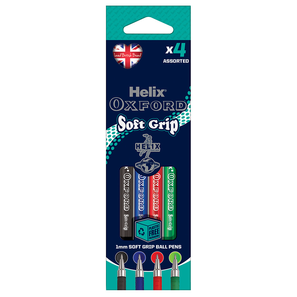 Helix Oxford Soft Grip Pen Set of 4 Assorted