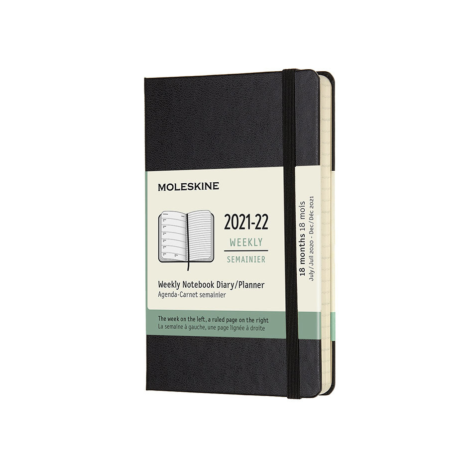 Moleskine Hardcover Pocket Weekly 18 Month Diary 2021-2022 Black