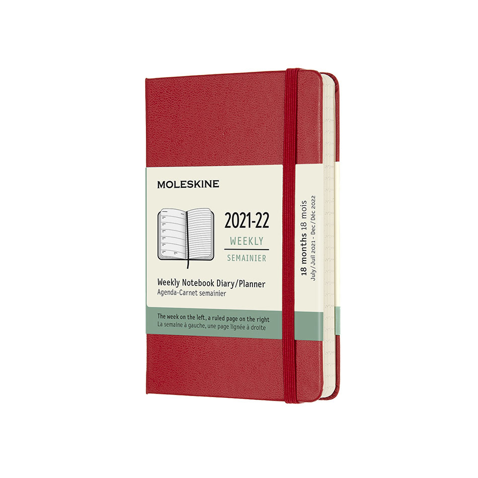 Moleskine Hardcover Pocket Weekly 18 Month Diary 2021-2022 Scarlet Red