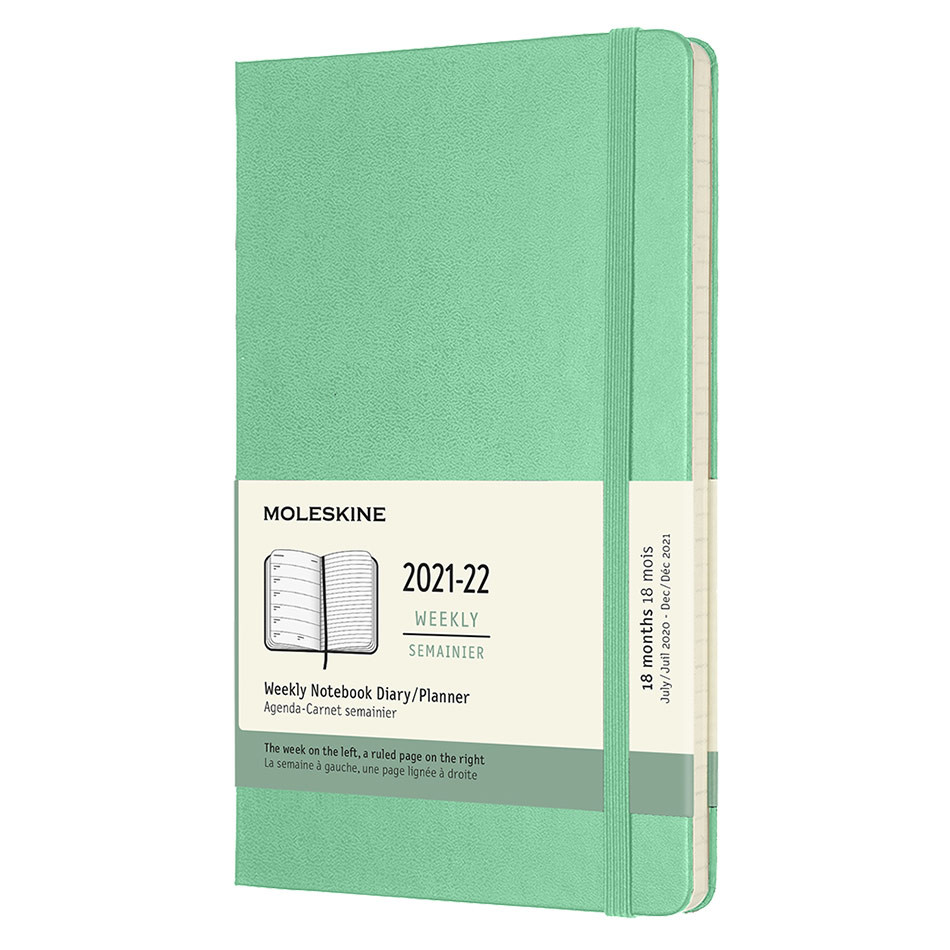Moleskine Hardcover Large Weekly 18 Month Diary 2021-2022 Ice Green